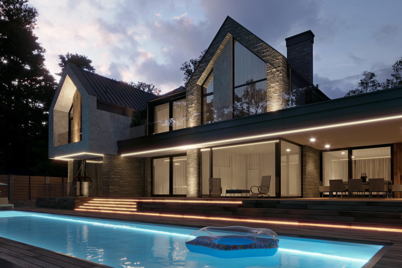 проекта дома с большими окнами